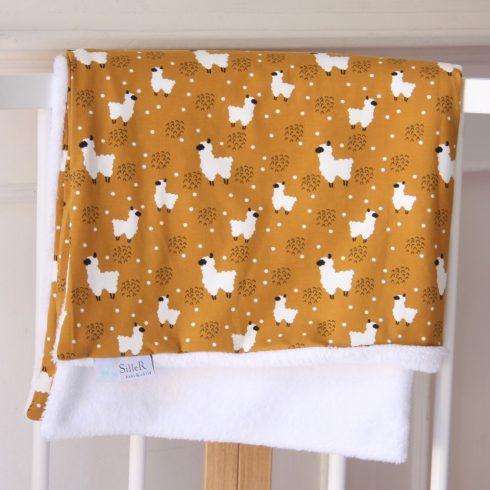 Babatakaró miniszőrmés pamut mustár lámás 70x100 cm