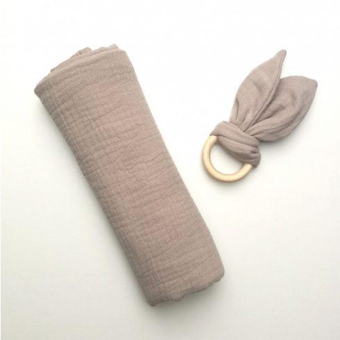 Babatakaró textil pelenka bézs nyuszi rágóka szett pamut nagy méret