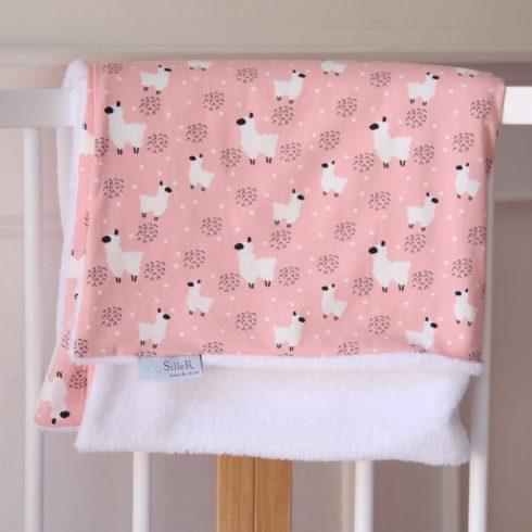 Babatakaró miniszőrmés pamut rózsaszín lámás 70x100 cm