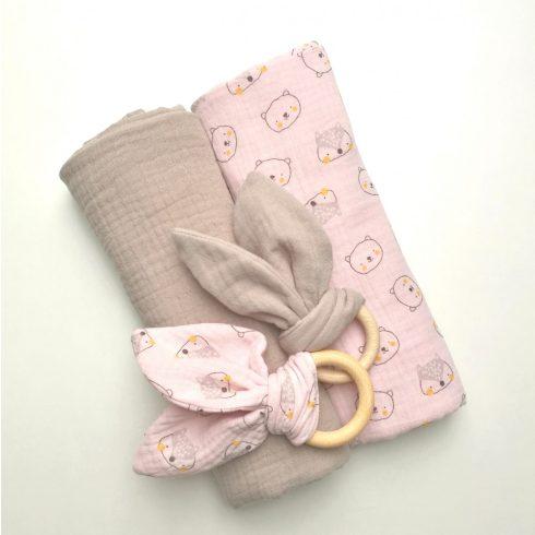Babatakaró textil pelenka 2 db-os szett rózsaszín maci őz mintás - bézs nyuszis rágókával pamut nagy méret