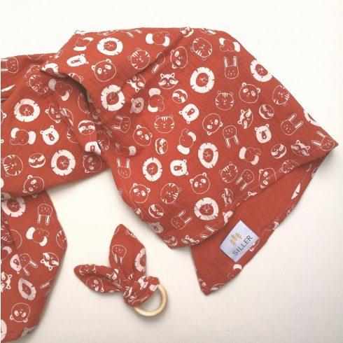 Babatakaró textil pelenka rozsdabarna állat mintás nyuszis rágókával pamut nagy méret