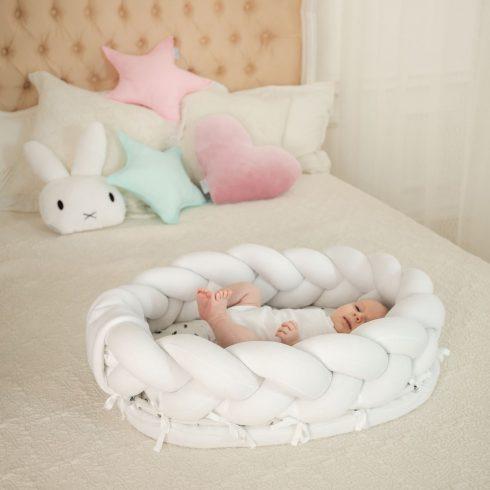 Fonott babafészek mini fehér