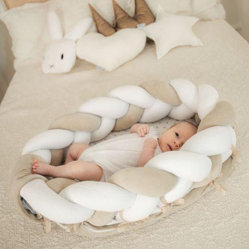 Fonott babafészek fehér bézs fehér méretek: 2