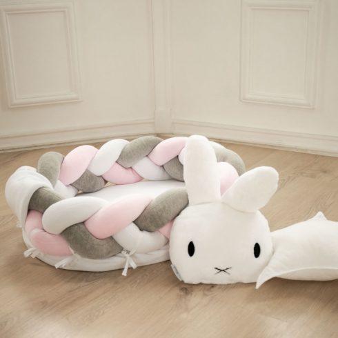 Fonott babafészek fehér rózsaszín szürke méretek: 2