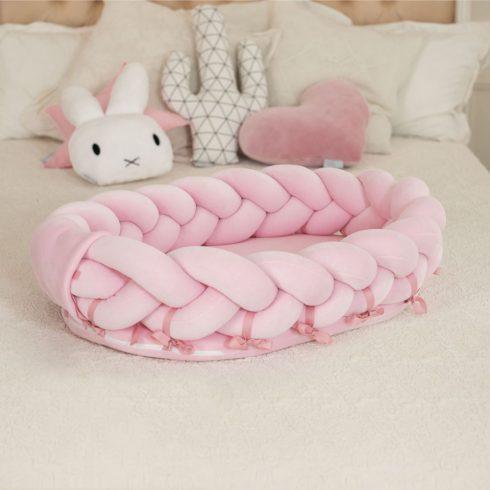 Fonott babafészek újszülötteknek nagy méret hordozható rózsaszín