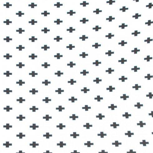 Gumis pamut jersey lepedő kiságyba 60x120 cm, 70x140 cm fehér alapon fekete keresztek