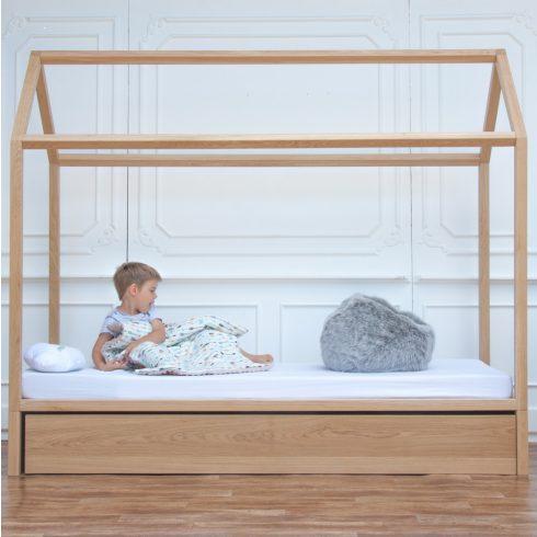 Házikó ágy natúr tölgy kihúzható vendégággyal bio felületkezeléssel