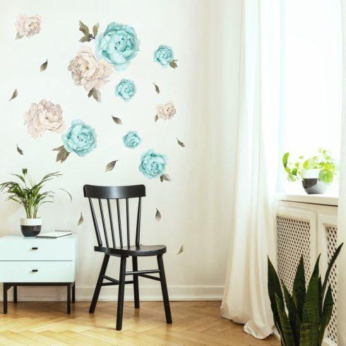 Falmatrica Bazsarózsa menta és krém színű nagy méretű virágok 100x 50 cm