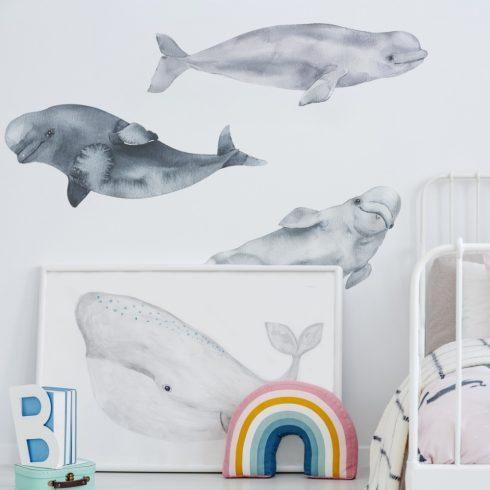 Falmatrica Óceán világ három nagy méretű beluga delfin 100 cm x 100 cm