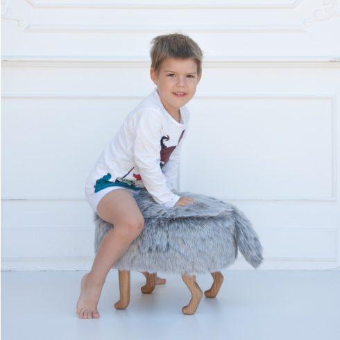 Szőrmés puff gyerekszék ezüstszürke montessori bútor
