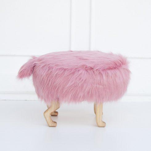 Szőrmés puff gyerekszék rózsaszín