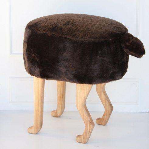 Szőrmés puff gyerek és felnőtt szék barna
