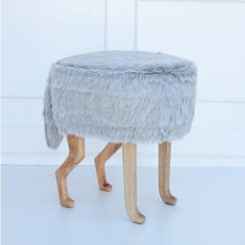 Szőrmés puff gyerek és felnőtt szék ezüstszürke