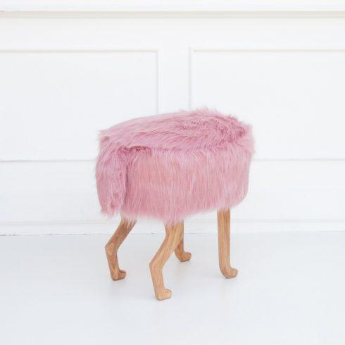 Szőrmés puff gyerek és felnőtt szék rózsaszín