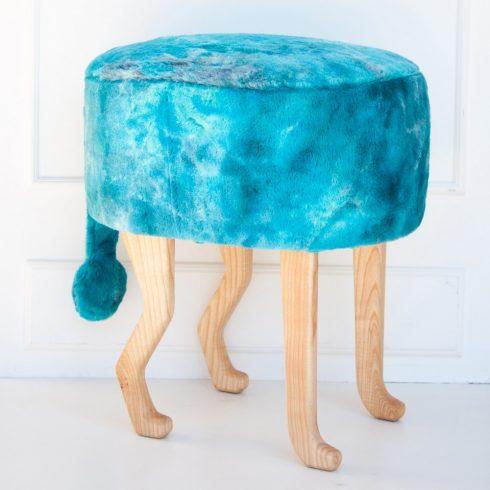 Szőrmés puff gyerek és felnőtt szék türkiz